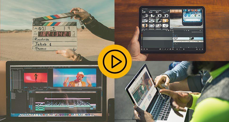 A imagem está dividida em 4 partes. Em cada parte aparecem cenas da produção de um vídeo, como edição, produção e gravação.