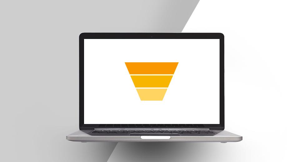A imagem tem o fundo branco e cinza. No centro, tem a imagem de um notebook e na tela aparece o funil de marketing.