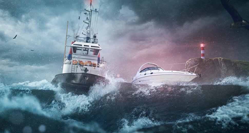 Imagem de dois barcos em alto mar, passando por uma tempestade.