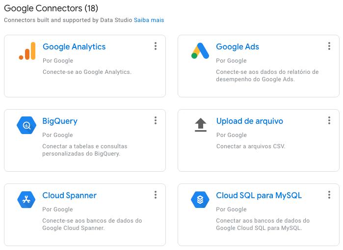 Conectores do Google Data Studio