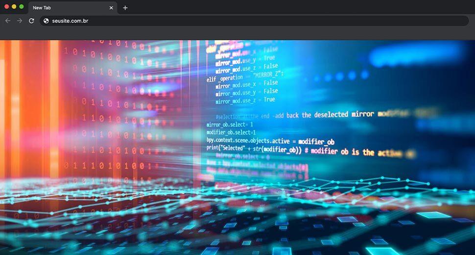 Imagem da tela de um computador, com dados de servidores. Da tela saem luzes neon, simulando tráfego de dados.
